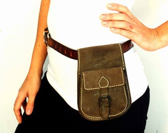 Belt Pouch Bag Brown Leather Pouch Bag Suede belt bag festival bag brown  belt purse small festival bag suede vintage 1990s