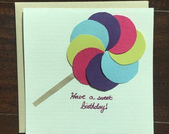Handmade Happy Birthay Lollipop card