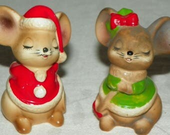 Adorable Josef Originals Christmas Boy and Girl Mouse Mice Salt and Pepper Shakers Made in Japan