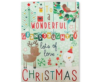 50% OFF - Merry Christmas - Happy Christmas - Seasons Greetings - Wonderful Granddaughter - LG21 - Lets Go Collection