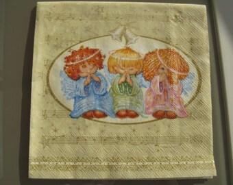set of 2 Angels paper napkins