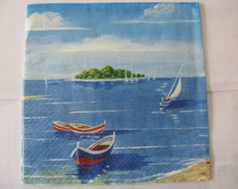 set of 2 boats paper napkins