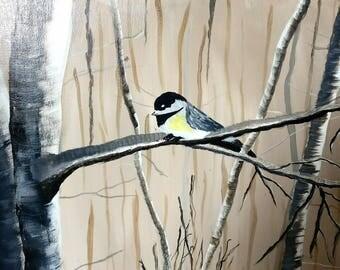 Winter Birch Trees Chickadee Canvas Painting Wall Decor Home Decor