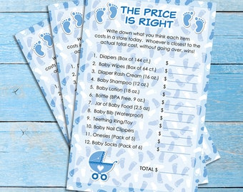 It's a Boy The Price Is Right Baby Shower Game Boy, The Price Is Right Game, Blue and White Price Is Right, Boy Baby Shower Game - 20 Count