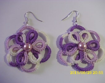 tatting in mauve and purple earrings