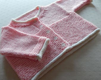 Baby Cardigan - newborn - hand knitted in DK pink acrylic yarn