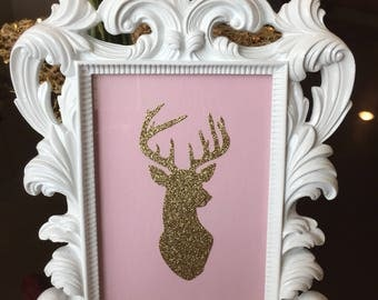 Glittery Deer Head Decor