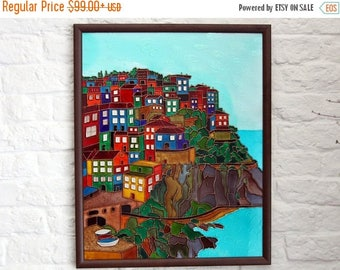 ON SALE Original painting on glass - Cinque Terre painting - Italian landscape stain glass - Mediterranean seascape - Bright houses seashore