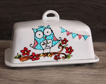 OWL flowers red butter dish