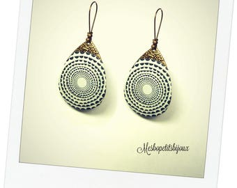 earrings, black and white psychedelic