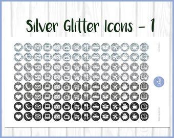 Silver Glitter Icon Planner Stickers | Housework Stickers | Daily Icon Stickers | Journal Stickers | Diary Stickers | Kikki K | Erin Condren