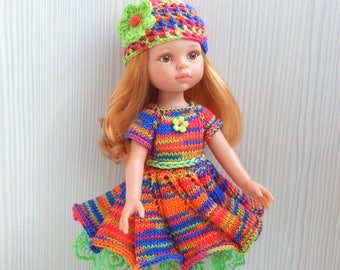 Dress and hat for doll 13 inch