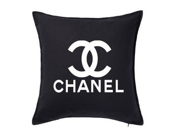 Chanel Inspired Pillow Cover - Wedding Gift - Engagement Gift - Housewarming Gift - Chanel Home Decor - Black Throw Pillow - Coco Chanel