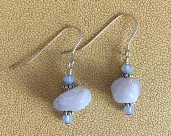 Agate and Swarovski crystal earrings