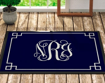 Personalized Door Mat - Navy Blue Framed - Fall Home Decor Monogrammed Gifts For Her Floral For the Home Outdoors Outdoor Decor Guest Mat