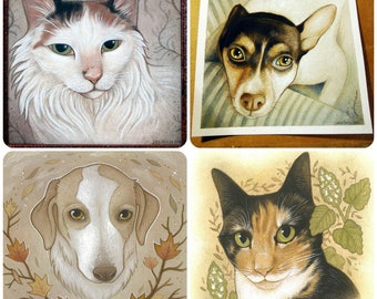 5 x 5 Custom Pet Portrait // Mixed Media Painting // Full Color