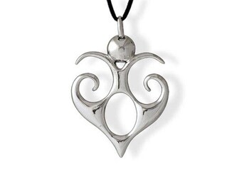 Necklace with Heart Pendant in sterling silver 925 from tribal ethnic style - Heart Pendant made in solid silver
