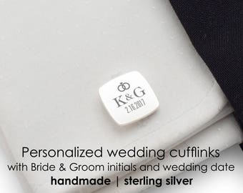 Personalized Wedding sterling silver cufflinks | Date and Initial | Groom Cufflinks, Gift for groom on wedding day,Groom Gift from Bride