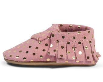 Genuine Leather Baby Moccasins | Soft Soled Crib Moccs | Baby Shoes for Boys & Girls | Great Baby Gift! | Color: Confetti