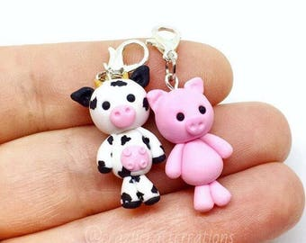 Adorable little barnyard moo cow and piggy polymer clay charm