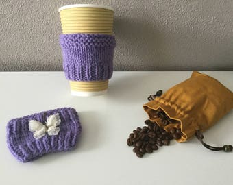 Cup sleeve set/ Cup cozy/ Coffee Cup Sleeve / Tea Cup Sleeve / Knitted Cup Cozy / Re-Usable Cup Sleeve / Gift for him / Gift for her