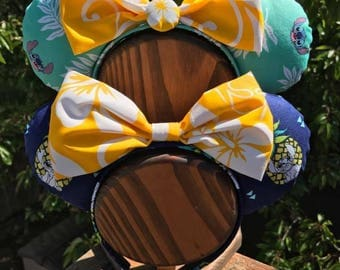 Stitch Mickey Ears with Hawaiian Fabric Bow (Dark blue ears in the FRONT)