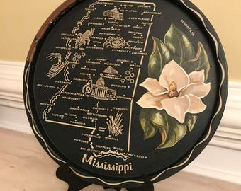Vintage serving tray black Mississippi state floral farm house or rustic chic wall decor