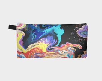 Cosmetic Bag, Cosmetic Tote, Art Bag, Art Pouch, Pencil Case, Pencil Tote, Abstract Painting, Phone Storage, Science Art