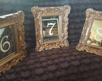 Mirror Table Number Frames Wedding Glass