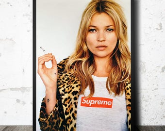 Kate Moss poster. Kate Moss photography. Kate Supreme printable poster. Fashion poster. Smoking Kate Moss. Instant download