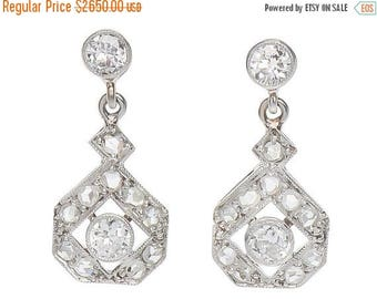 ON SALE Estate Diamond Drop Earrings | Vintage Rose Cut Diamond Earrings in Platinum | Conflict Free Estate Earrings Diamonds || 17358