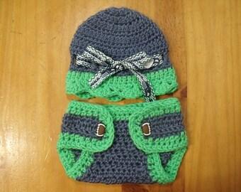 Handmade Crochet Seattle Football Newborn Beanie & Diaper Cover Set 0-3 mts - Great Baby Shower Gift or Photo Prop!