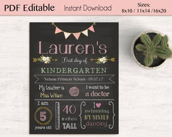 First/Last Day of School Chalkboard Print, Editable Text, DIY, Gold Pink, Chalkboard Sign, Kindergarten, Flower, INSTANT DOWNLOAD