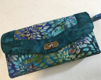 Necessary Clutch Wallet with Wrist Strap and 2 Zipper Pockets - Handmade, Multi Color 100% Cotton Batik