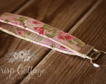 Shabby Chic Pink TeaFloral Boho Key Fob; Key Chain, Wristlet
