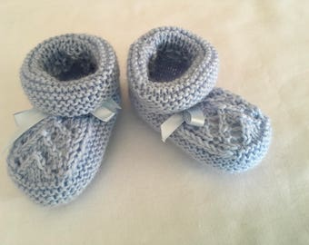 Hand Knitted Booties in Blue.
