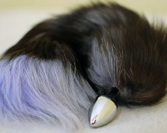 Tail Butt Plug / Gray Fox Tail / Anal Sex Toy / Anal Plug / Fox Fur Tail / Faux Fur / Fox Butt Plug Tail / Furry / Mature / Fast Shipping