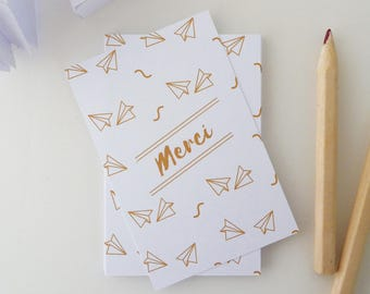 Set of 18 illustrated little golden yellow paper planes thank you cards