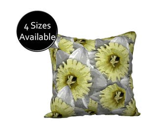 Floral Pillow Case, Printed Pillow Cover, Decorative  Yellow Gray Throw Pillow, Velveteen or Canvas Pillow, Square Lumbar Oblong Rectangular