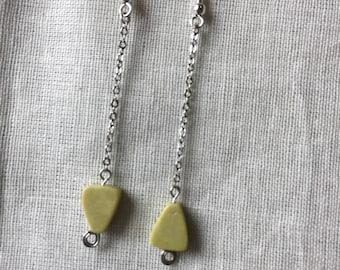Yellow turquoise long earrings