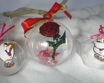 Chip and Mrs Potts hand painted Christmas baubles