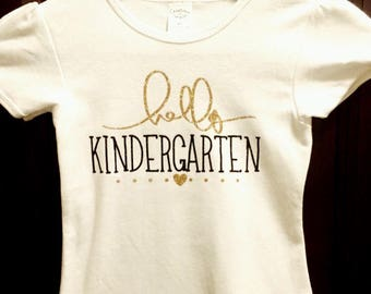 Hello Kindergarten shirt, Back to School Top, First day of school shirt, Hello Kindergarten tshirt, 1st day of school tee, girls shirt