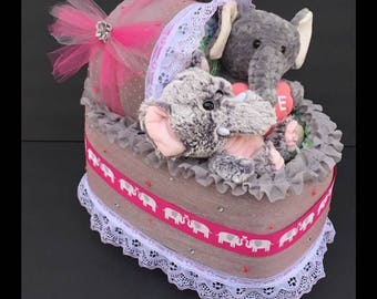 Pink and grey Diaper cake bassinet, diaper carriage, diaper cake for girl, diaper Cake girls, girl diaper cakes, baby shower girl, baby gift