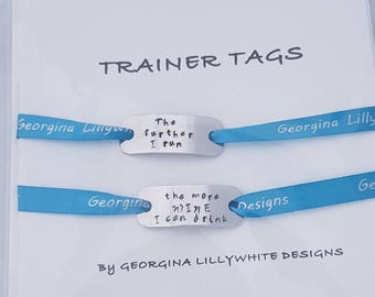 The further I run the more Wine I can drink - Trainer Tags