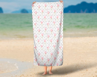 Flamingos and Dots Summer Towel | Summer Towel Gift | Pool Towel | Beach Towel | Home Decor
