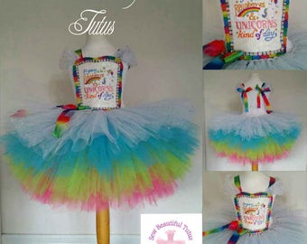 Age 5-6yrs Unicorns and Rainbows Tutu Dress - Tulle - Party - Colourful - Sparkle  ***Available now***
