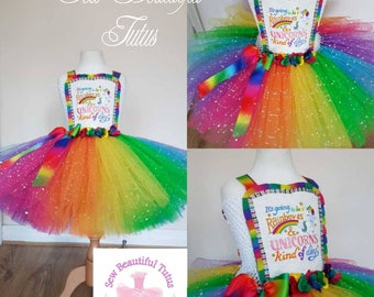 Age 5yrs Unicorns and Rainbows Tutu Dress - Tulle - Party - Colourful - Sparkle  ***Available now***