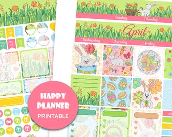 April Monthly View Kit Easter Happy Planner Printable Easter planner stickers April planner kit Monthly stickers Instant download