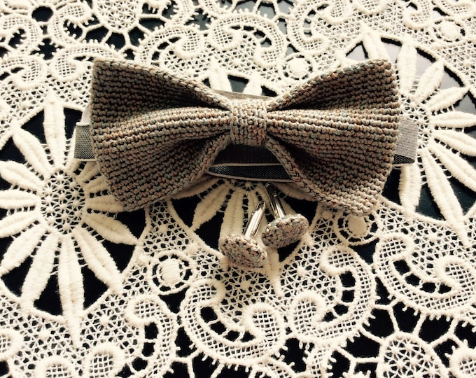 crochet bow tie 100% silk, grey blue, gold-Brown