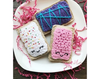 Amigurumi Toaster Pastry Set/Plush Toy/Play Food/Fruit Collection/Set of 3/Ready to Ship